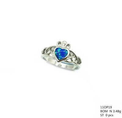 11op39 Sterling Silver Inlaid Opal Caltic heart Ring