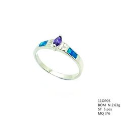 11OP05 STERLING SILVER INLAID OPAL RING