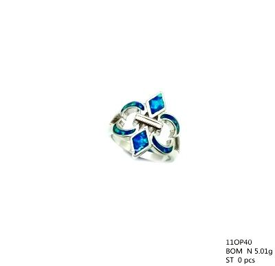 11op40 Sterling Silver Inlaid Opal Caltic Ring