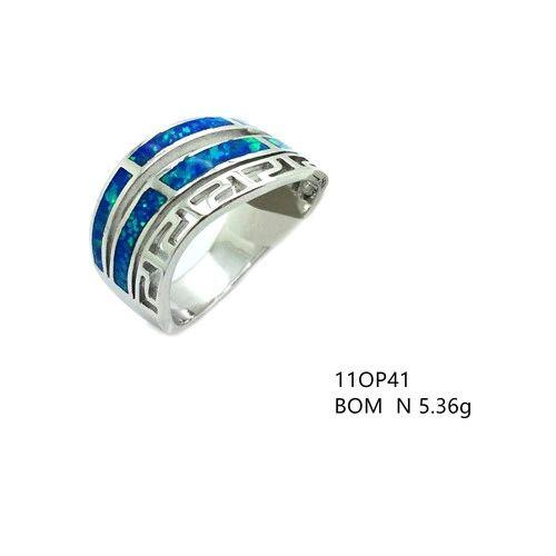 11op41 Sterling Silver Lab Opal greek key Ring