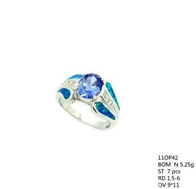 11op42 Sterling Silver Lab Opal Ova Tulipl Ring