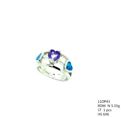 11op43 Sterling Silver Lab Opal heart Ring