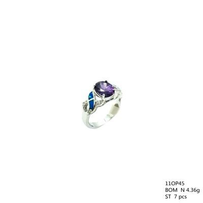 925 Sterling Silver Lab Opal XO Ring with color CZ Stone-11OP45-K5CZ09