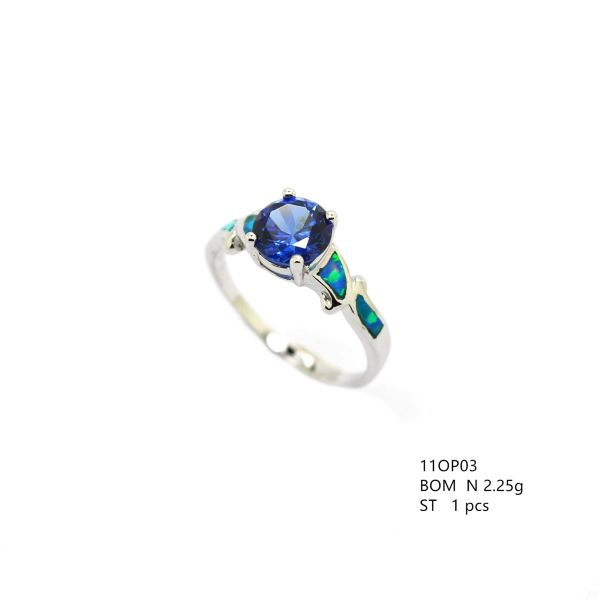 11OP03 925 STERLING SILVER INLAID OPAL RING