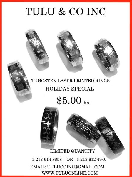 TUNGSTEN LASER PRINTED RINGS