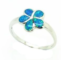 11OP13 STERLING SILVER INLAID OPAL RING