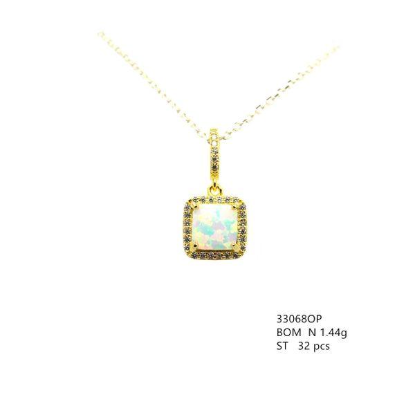 33068 Halo Color Stone Emerald cut Silver Pendant,Color Stone CZ ,Opal,Emerald,Tanznite ,nznite,Amethyst
