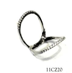 925 SILVER CZ RING, KNUCKLE RING, 11CZ20