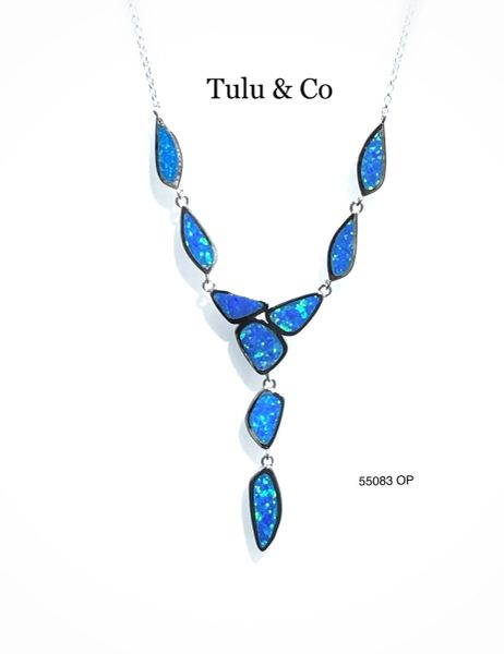 55083 STERLING SILVER CREATED OPAL NECKLACES