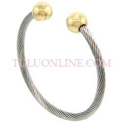 STAINLESS STEEL CABLE BALL MAGNETIC BANGLES, SSB409-GD