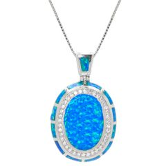 925 SILVER OVAL ART CORE INLAID LAB BLUE OPAL PENDANT- 33OP30-K5