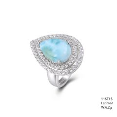 Larimar Stone Ring, in Sterling Silver . 11ST15