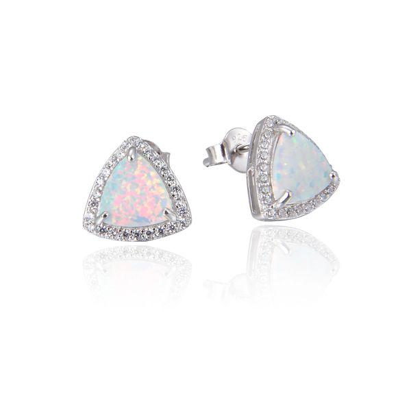 White Opal Earrings , Sterling Silver m Triangle shape,22011