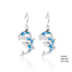Opal Dolphine Earrings, Inlaid settibf 22299