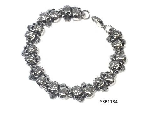 Stainless Steel Skull Head Bracelet,SSB1184