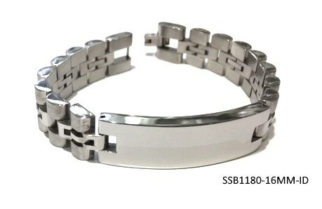STAINLESS STEEL BAR STYLE WIDE 16MM ID BRACELET,SSB1180