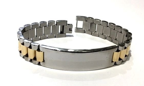 STAINLESS STEEL BAR STYLE WIDE 16MM ID BRACELET,SSB1177