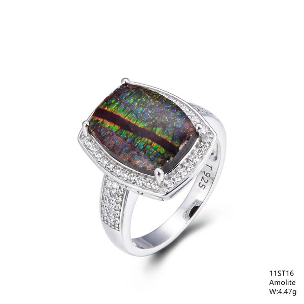 Ammolite Sterling Silver Ring, 11ST16