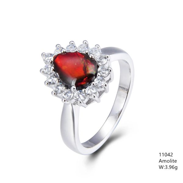 Ammolite Sterling Silver Ring, 11042