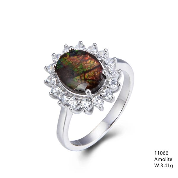 Ammolite from Canada, Sterling Silver ring , 11066