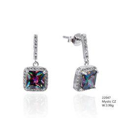 Mystic Rainbow CZ Silver Earrings ,22047