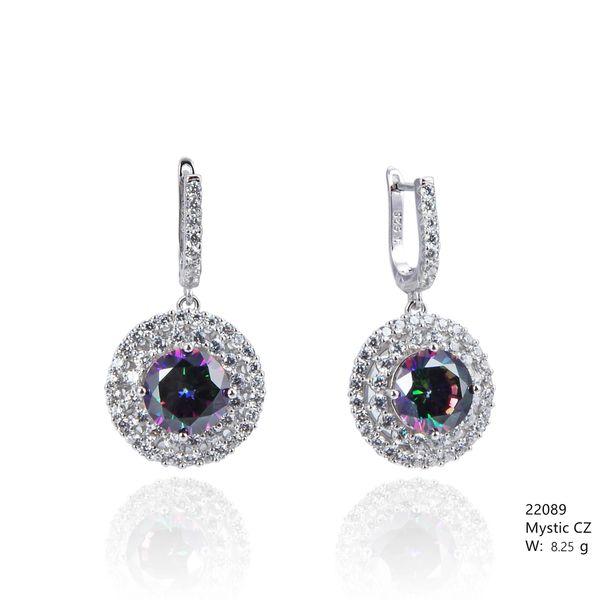 Mystic Rainbow CZ Silver Earrings ,22089