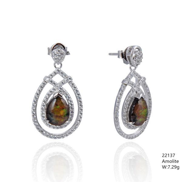 Ammollite , Silver Earrings ,22137