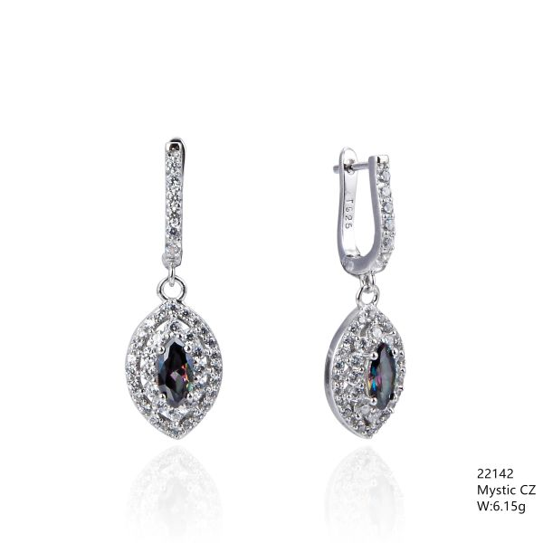 Mystic Rainbow CZ Silver Earrings ,22142,dangling French Hook