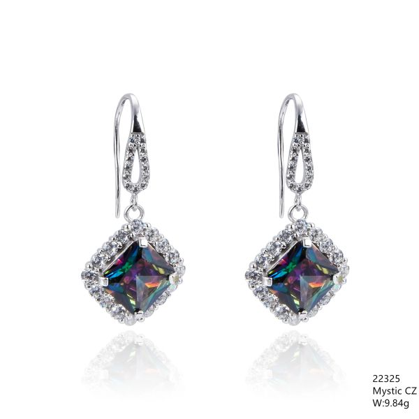 Mystic Rainbow CZ Silver Earrings,22325, CZ Fishwire Hook