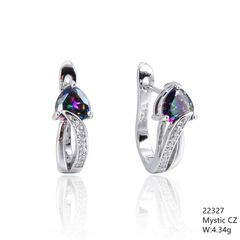 Mystic Rainbow CZ Silver Earrings,22327,French Back Earrings