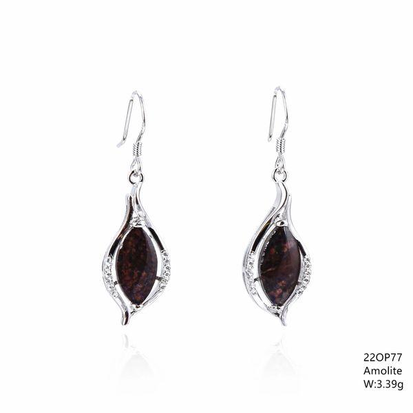 Ammollite , Silver fish wire dangling Earrings ,22op77