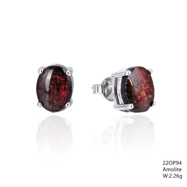 Ammollite Stone , Sterling Silver Oval stud Earrings ,22op94