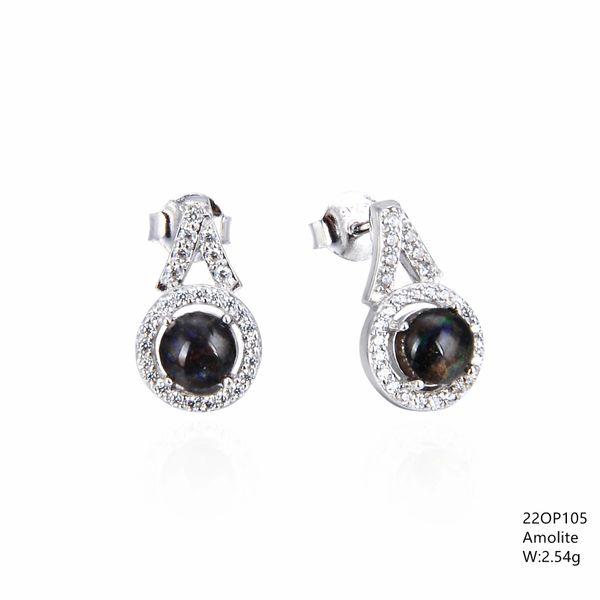Ammollite Stone , Sterling Silver Halo stud Earrings ,22op105