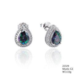 Mystic Rainbow CZ Silver Earrings ,22329,Drop Shape CZ Stud