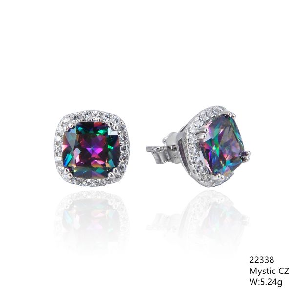 Mystic Rainbow CZ Silver Earrings ,22338,Halo, Square Shape CZ Stud