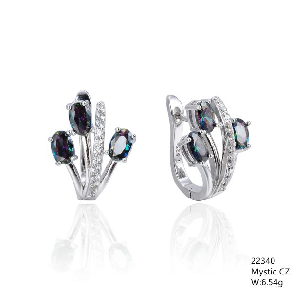 Mystic Rainbow CZ Silver Earrings ,22340,triple leaf french back earrings
