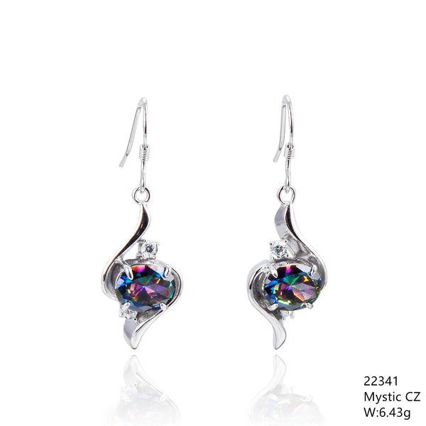 Mystic Rainbow CZ Silver Earrings,22341, CZ Fishwire Hook