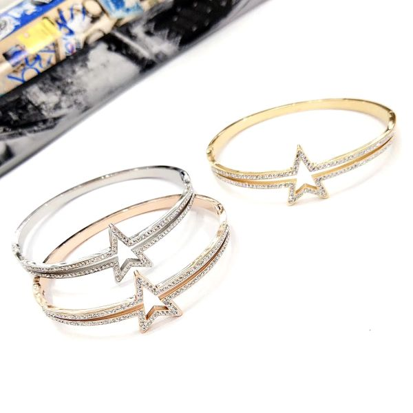 Stainless Steel Crystal STAR Bangle . SSB50347