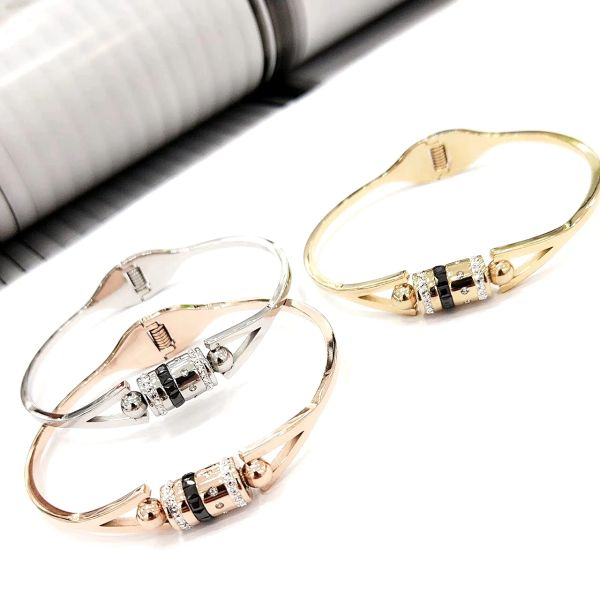 Stainless Steel CZ CRYSTAL TUBE Bangle . SSB50346