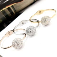 Stainless Steel CZ CRYSTAL ROUND BALL Bangle . SSB50342