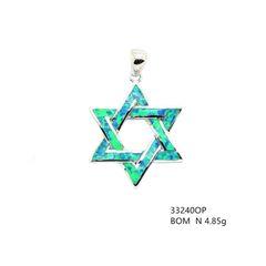 925 Silver ,Jewish star , Inlaid Lab Opal Pendant, 33240