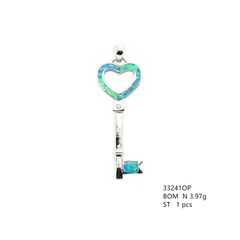 925 Silver ,keys , Inlaid Lab Opal Pendant, 33241