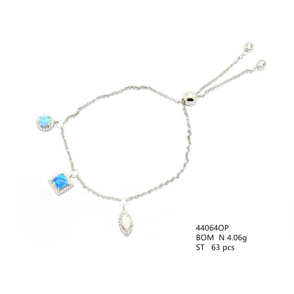 925 STERLING SILVER LAB OPAL CHARM BRACELET , FOX TAIL ADJUSTABLE BRACELET , 44064