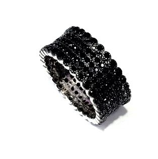 11CZ30 STERLING SILVER THREE ROLE CZ BAND RING
