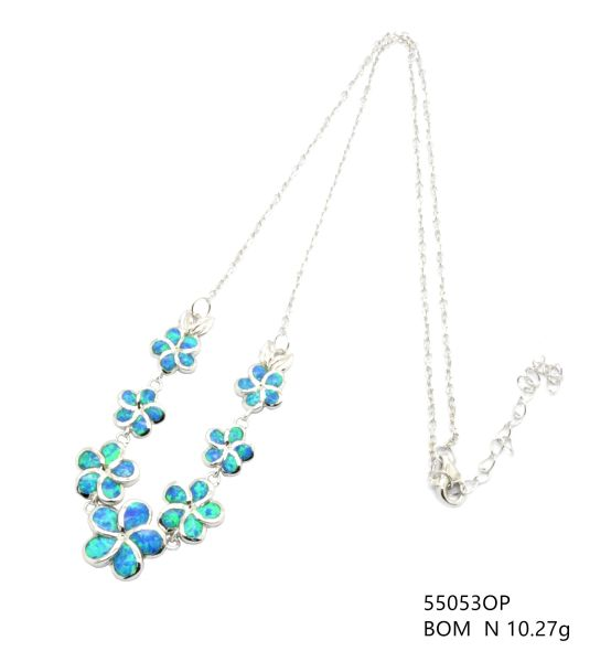 Plumeria Hawaiian Flower Sterlling Silver lab opal necklace , 55053