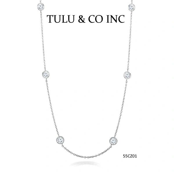 925 SILVER,DIAMOND BY THE YARD , 4MM CZ CHAINS,55CZ01-36