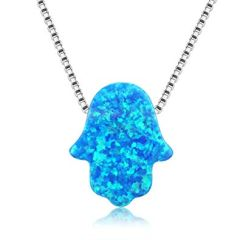925 SILVER,LAB CREATED, BLUE OPAL,HAND ,KHAMSA NECKLACES -55OP01