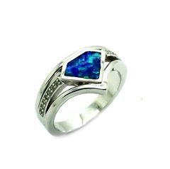 925 SILVER INLAID LAB OPAL DIAMOND SHAPE RING -11OP157-K5
