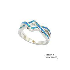 925 SILVER LAB INLAID OPAL PUZZEL XO RINGS- 11177-K5