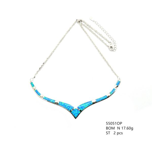 925 SILVER LAB INLAID OPAL V NECKLACE -55051-K5